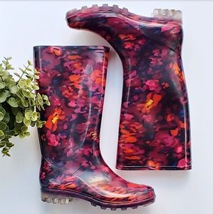 Merona abstract floral tall rain boots